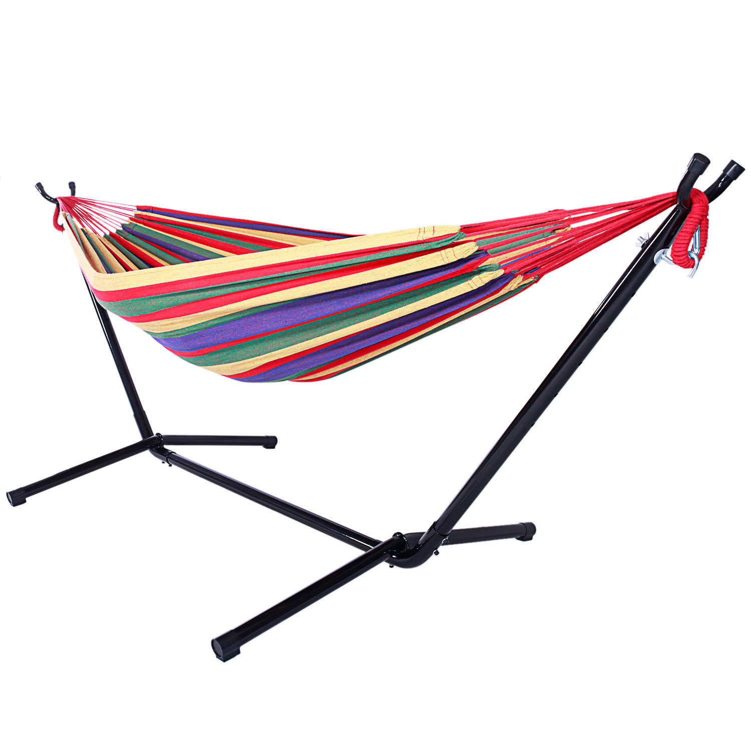 70741e57598 Indoor and Outdoor Cotton Double Hammock Set w/ Steel Stand Carrying Case