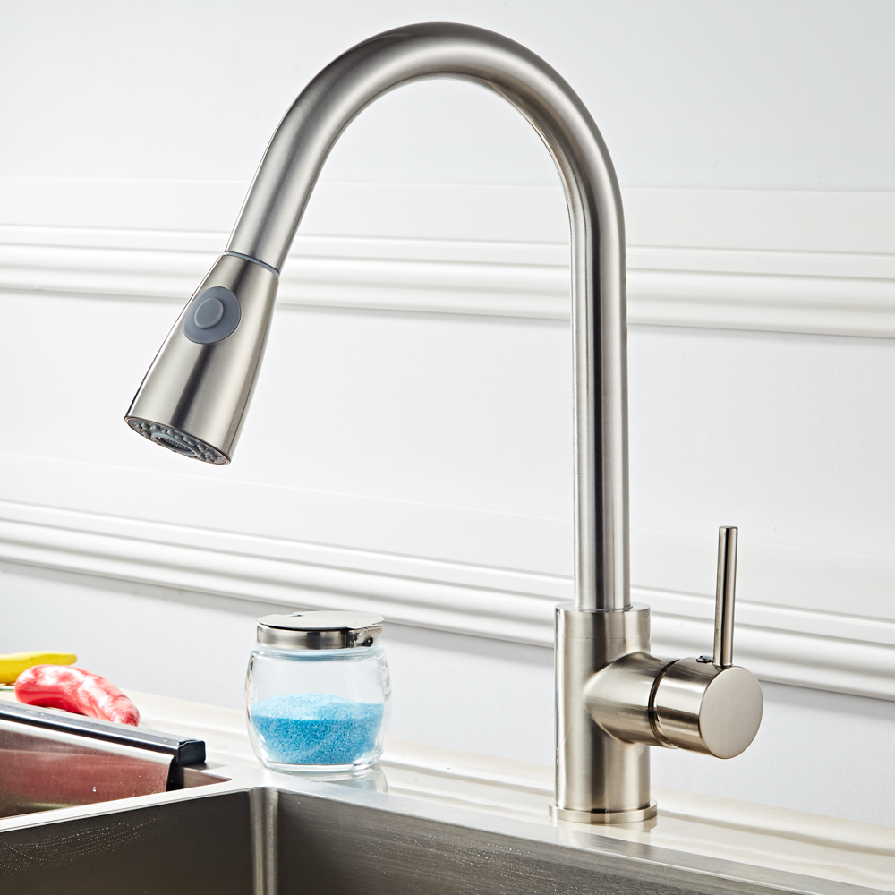 High Quality Kitchen Faucet Pull Out Sprayer Single Hole Swivel Sink ...