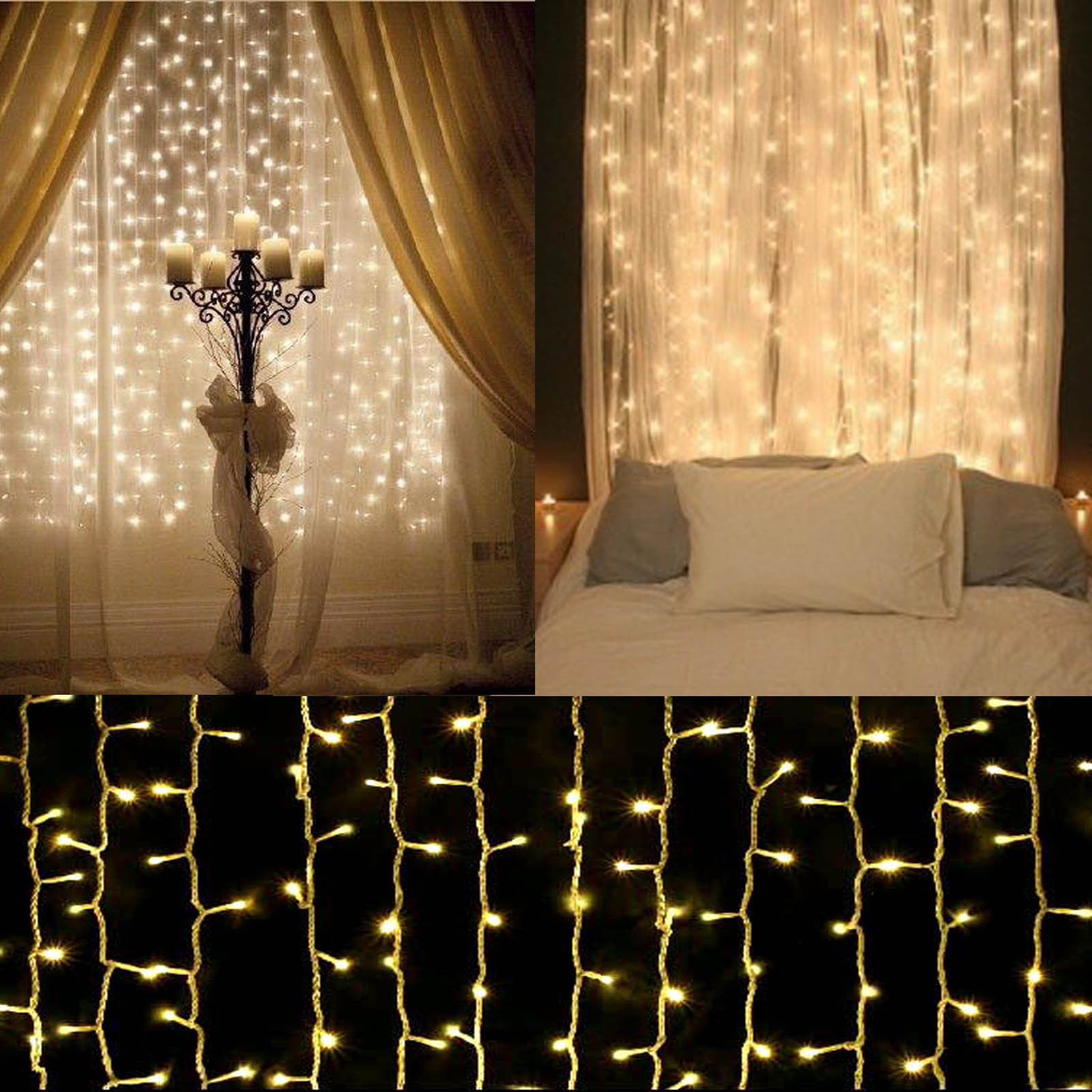 300 led christmas wedding party string fairy curtain. Black Bedroom Furniture Sets. Home Design Ideas