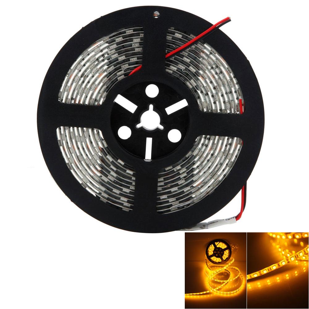 Yellow Led Strip Light: 12V 5M SMD5050 Orange Yellow Epoxy Waterproof 300 LED