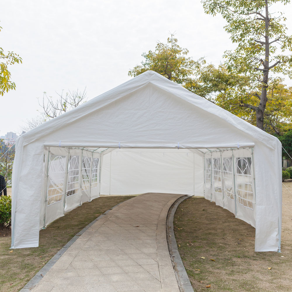16 x32 ft White Car Port Canopy Gazebo Tent Cover With 12 Leg Steel ...