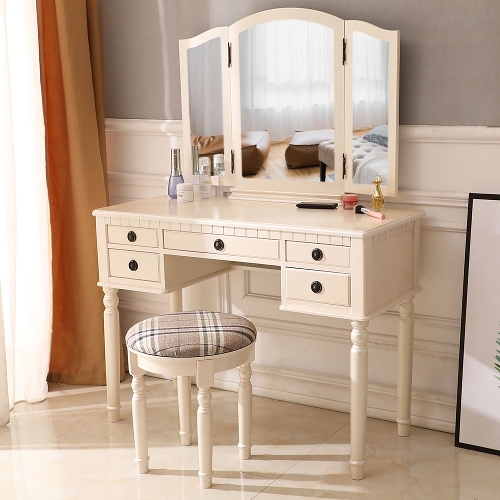 Details about Bedroom Vanity Table Set Tri-Folding Mirror 5 Drawer Dressing  Table Make-up