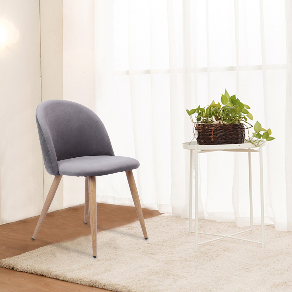 Details about Set of 2 Gray/Pink Velvet Dining Chairs for Living Room  Modern Side Chairs