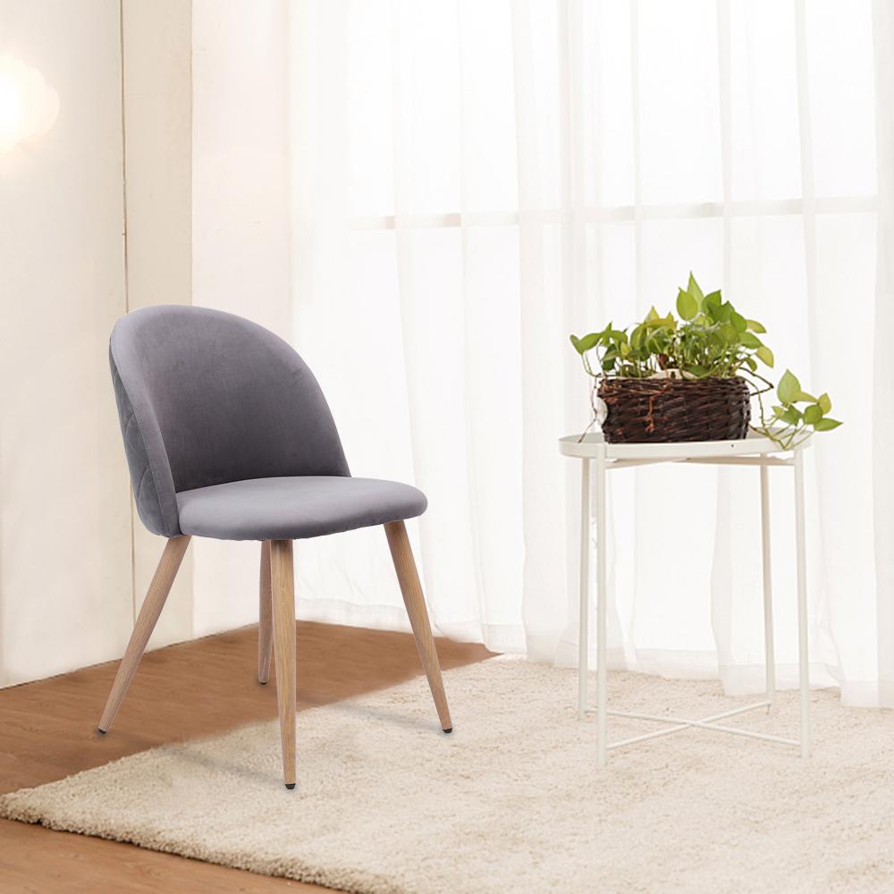 Set of 2 Gray/Pink Velvet Dining Chairs for Living Room Modern Side ...