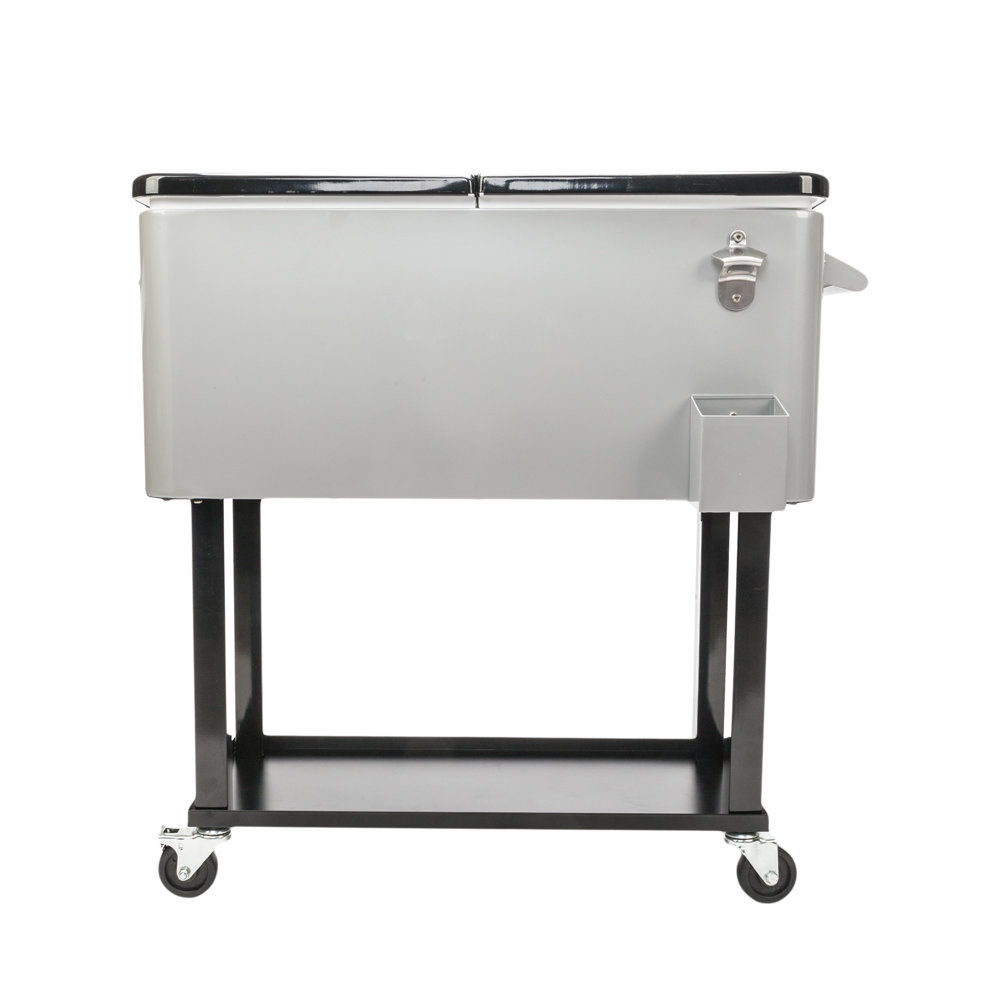 80 Quart Frozen Trolley Portable Outdoor Rolling Ice Chest ...
